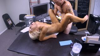 Horny golden-haired waitress fucked by the chef in the restaurant office
