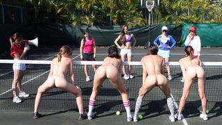 In nature's garb gals in lesbo hazing on the tennis court
