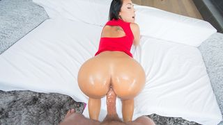 The flawless butt impaled on a massive erection!