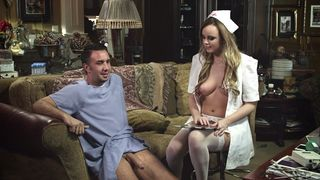 Undressed nurse helps me with my erection