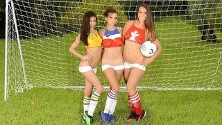 World Cup mania with three nude cuties