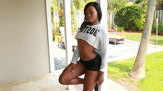 Sexy black dancer girlfriend sucks and copulates with her boyfriend on camera