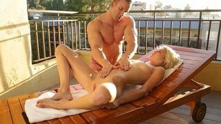 Sexy blonde girlfriend bonks with the male masseuse while her boyfriend's not around