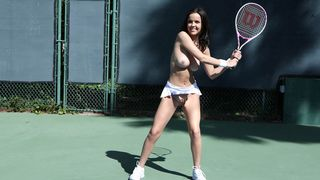 Bare angel playing tennis and getting fucked hard on the tennis court