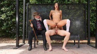 Teen slut sucks and bonks at the bus stop with her grandpa sitting next to her