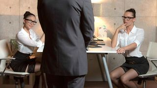 Those two smoking sexy office sluts know how to make their boss relax