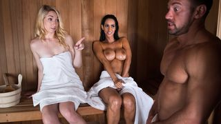 Dude anal fucks this busty brunette hair slut in the sauna room right next to his wife