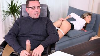 Teen nympho books a session with therapist and he psycho ANALizes her and cums in her gazoo