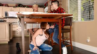 Mom's friend grabbed my penis beneath the table and made me fuck her hard!