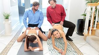 Horny dads strike a sexy swapping deal and fuck each other's sexy daughters