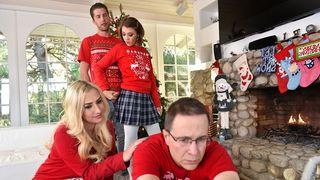 Nasty stepsister sucks and fucks her stepbrother on Christmas morning