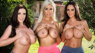 Three cougar housewives with large tits enjoying a big dick after their morning jog