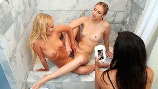Wicked gals have lesbo sex in the shower during a sleepover!