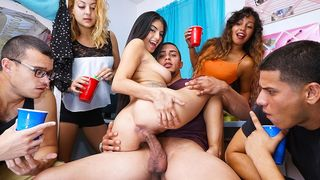 Exposed college angels have a wild sex party on their first day in college