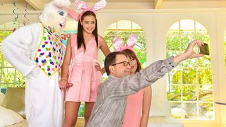 Sneaky sex with a sexy legal age teenager getting fucked by her uncle dressed up as an Easter bunny behind her parents' back