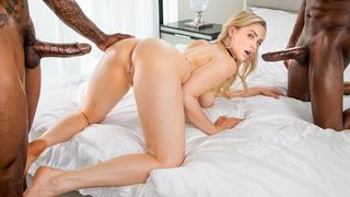 Two huge black jocks destroy this sexy blonde's cookie and mouth as the guys spit roast her