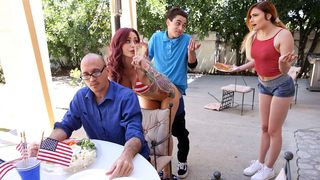fourth of July threesome! Horny MILF seduces her stepdaughter's boyfriend during a family barbeque!