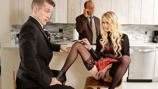 Gorgeous little fuckdoll flashing her snatch to dad's colleague and letting him fuck her!
